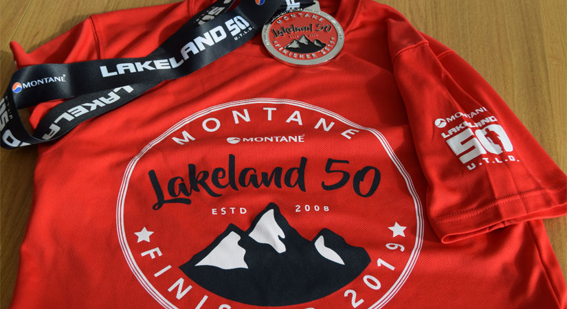 Lakeland 50 2019 medal and finisher tee